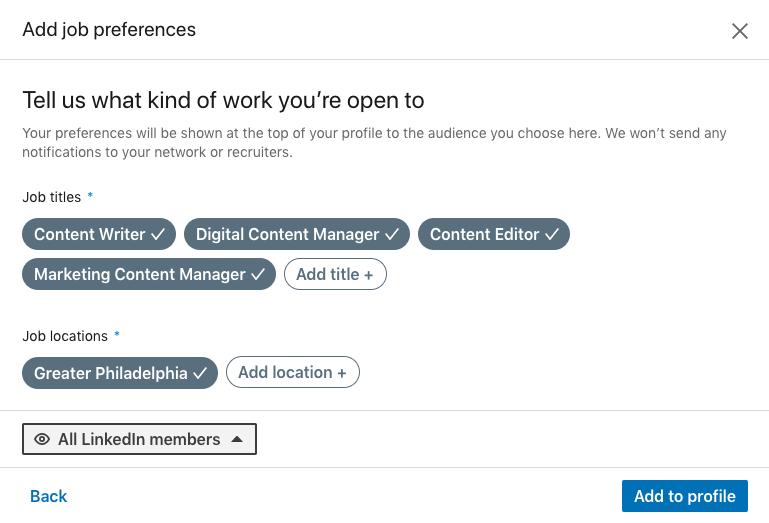 linkedin job preferences